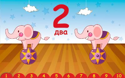 Цирковые слоны помогают малышу познакомиться с цифрой 2. (Учим цифры 2+ Free. Детское игровое приложение для Android.)